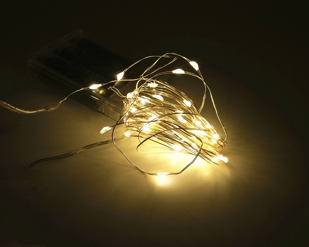 2M 20-LED Silver Wire Strip Light Battery Operated Fairy Lights Garlands Christmas Holiday Wedding Party 1PC
