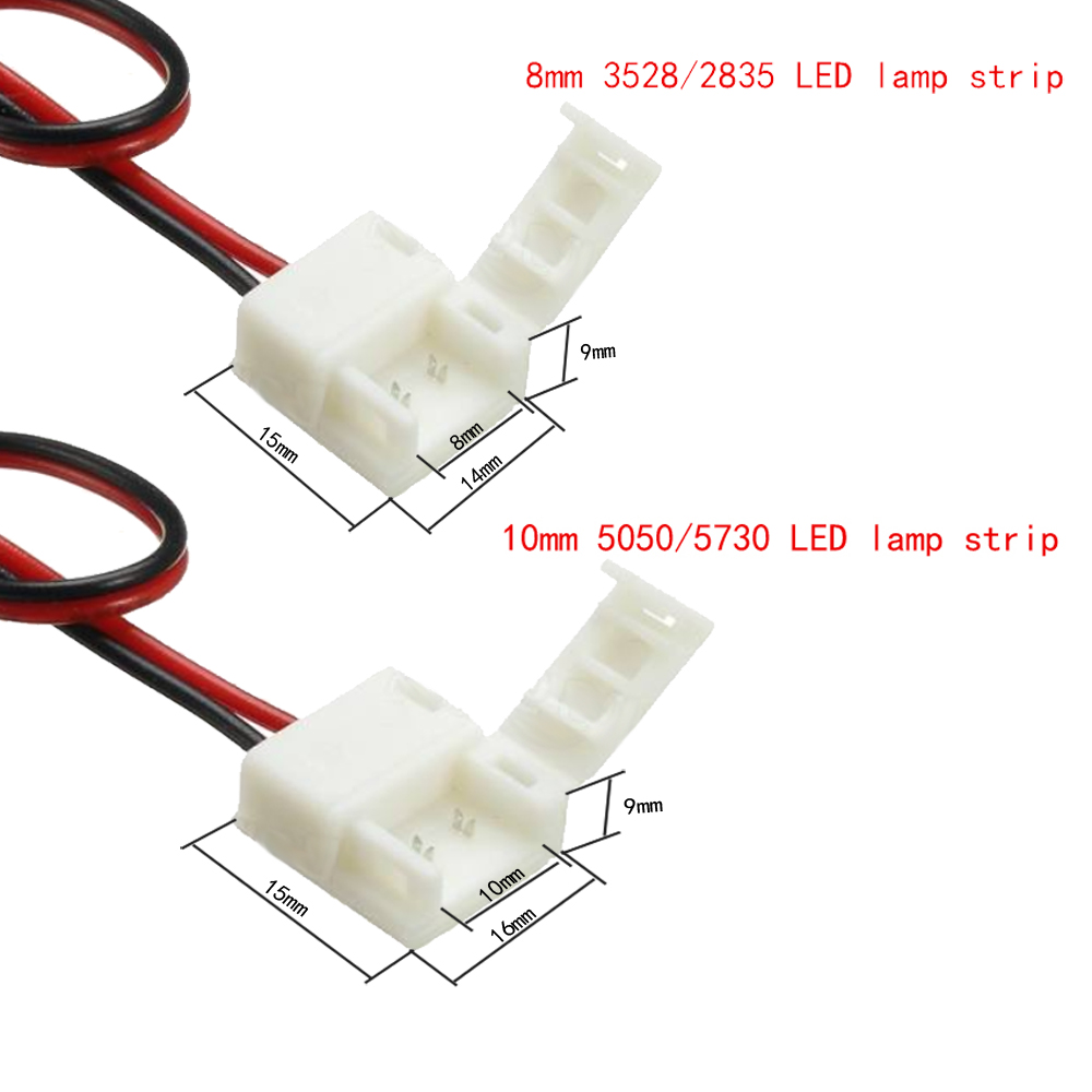 ZDM Female DC Power Connector with 2PIN 8mm / 10mm Single Color Waterproof LED Strip Linker 1PC